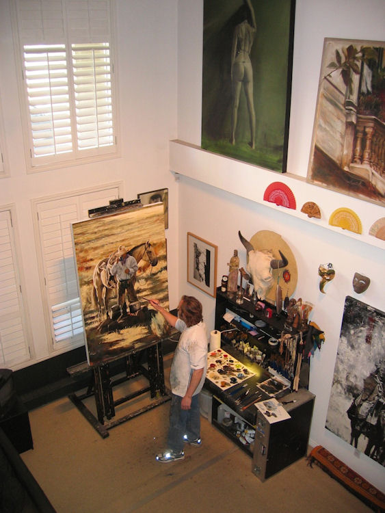 "Working in my former Calgary loft studio on ""Loyal Friends"" 60X40"" oil on canvas (commission) 2006 (the 2007 Calgary Stampede poster painting)"
