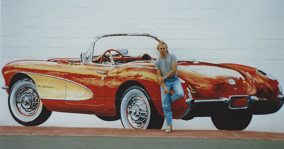 In front of my Johnny Rockets Car Wash mural (commission), 1992